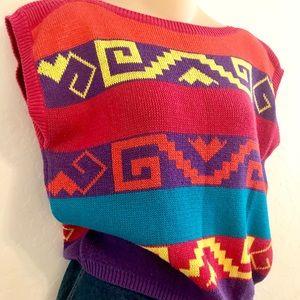 Sweaters - 80s Rainbow Color Block Sleeveless Sweater